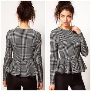 Women's ASOS Top with Peplum in Dogtooth Size 8